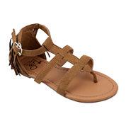 OMGirl Nyla Multi-Strap Back Fringe Girls Sandals - Little Kids