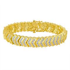 Womens 2 CT. T.W. Diamond 14K Gold Over Brass Link Bracelet