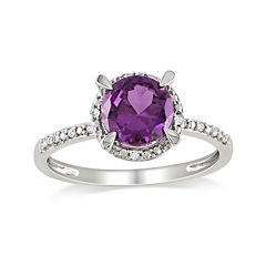 Lab-Created Alexandrite and Diamond-Accent 10K White Gold Ring