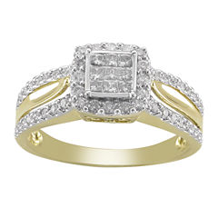 1/2 CT. T.W. Princess Diamond 10K Gold Engagement Ring