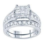 2 CT. T.W. Princess & Round Diamond Bridal Ring Set