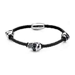 Mens Stainless Steel & Leather Skull Bracelet