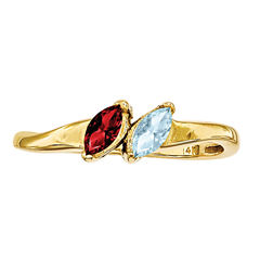Personalized 14K Gold Cubic Zirconia Family Ring