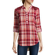 Almost Famous Long-Sleeve Roll-Tab Lace-Detail Plaid Shirt  - Juniors