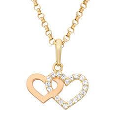 Girls White Cubic Zirconia 14K Gold Pendant Necklace