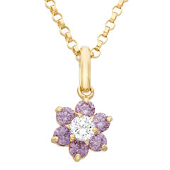 Girls Purple Cubic Zirconia 14K Gold Pendant Necklace