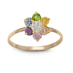 Girls 1/5 CT. T.W. Multi Color Cubic Zirconia 10K Gold Delicate Ring