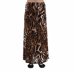 24/7 Comfort Apparel Chocolate Polka Dot Printed Maxi Skirt