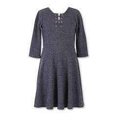 Speechless® 3/4-Sleeve Ribbed Knit Skater Dress with Lace-Up Neck - Girls 7-16