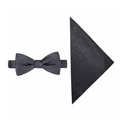 JF J. Ferrar® Textured Striped Bow Tie and Pocket Square Set