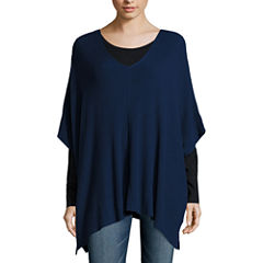 a.n.a® Sleeveless Ribbed Poncho - Tall