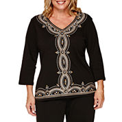 Alfred Dunner® Madison Park 3/4-Sleeve Center Embroidery Tee - Plus