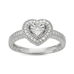 Womens 1/10 CT. T.W. Genuine Round White Diamond Sterling Silver Promise Ring