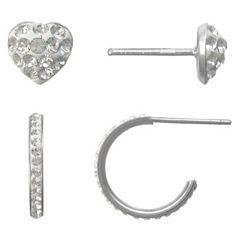 Girls Sterling Silver & Crystal 2-pr. Earring Set