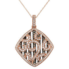 Womens 1 1/5 CT. T.W. Brown Diamond 10K Gold Pendant Necklace