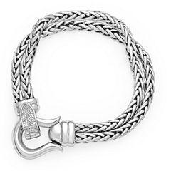 Womens 7.5 Inch Diamond Accent White Diamond Sterling Silver Chain Bracelet