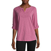 St. John's Bay® 3/4-Sleeve Lace-Front Tee