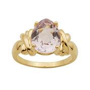 Pear-Shaped Color-Enhanced Pink Quartz Ring