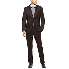 JF J. Ferrar® Burgundy Twill Suit Separates - Slim Fit