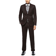 JF J. Ferrar® Stretch Burgundy Twill Suit Separates - Super Slim Fit