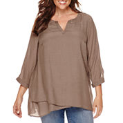 St. John's Bay® Long-Sleeve Easy-Crossover Print Tunic - Plus