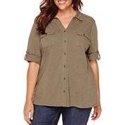St. John's Bay® Long-Sleeve Knit Equipment Shirt - Plus