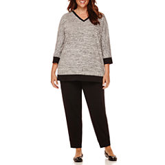 Liz Claiborne® Terry Pullover Tee or Black Jogger Pants - Plus