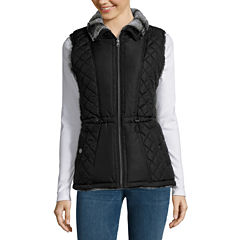 KC Collections Faux Fur Reversible Quilted Vest