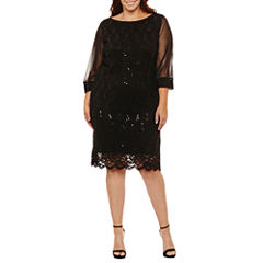 Tiana B 3/4 Sleeve Lace Sequin Sheath Dress-Plus