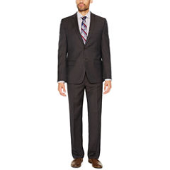 Collection by Michael Strahan Brown Plaid Suit Separates-Classic