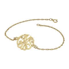 Personalized 14K Gold Over Sterling Silver 20mm Monogram Bracelet
