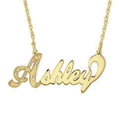 Personalized 14K Gold Over Sterling Silver Diamond-Accent Name Necklace