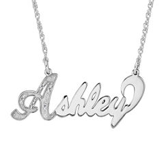 Personalized Diamond-Accent Sterling Silver Nameplate Necklace