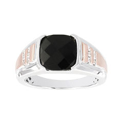 Mens 1/8 CT. T.W. Diamond and Genuine Onyx 10K Two-Tone Gold Ring