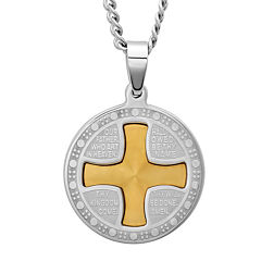 Mens Lord's Prayer Two-Tone Stainless Steel Pendant Necklace