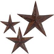 Set of 3 Rustic Stars Wall Art