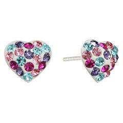 Childs Multicolor Crystal Heart Earrings
