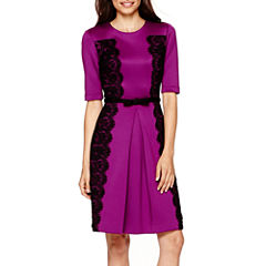 Danny & Nicole® Elbow-Sleeve Lace-Panel Fit-and-Flare Dress - Petite