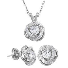 DiamonArt® Cubic Zirconia Love Knot Pendant Necklace & Earring Set