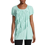 Alyx® Short-Sleeve Ruffled-Front Knit Top
