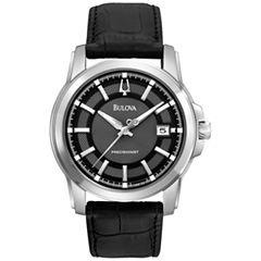 Bulova® Precisionist Mens Black Leather Watch
