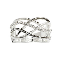 city x city® Crisscross Crystal-Accent Sterling Ring