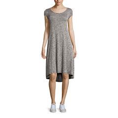 Fire Short-Sleeve Marled Hatchi Lace-Up T-Shirt Dress - Juniors