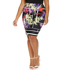 Tropical Grid Pencil Skirt