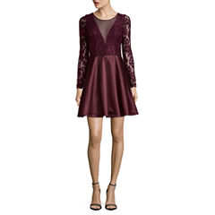 My Michelle Long Sleeve Illusion Party Dress-Juniors