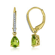 Pear-Shaped Genuine Peridot and Lab-Created White Sapphire Leverback Drop Earrings