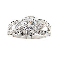 DiamonArt® Cubic Zirconia Sterling Silver Loop Bypass Ring