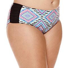Arizona Diamond Geo-Print High-Waist Hipster Swim Bottoms - Juniors Plus
