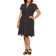 Msk Short Sleeve Shirt Dress-Plus
