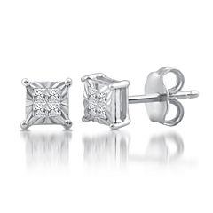 1/10 CT. T.W. Princess White Diamond Sterling Silver Stud Earrings